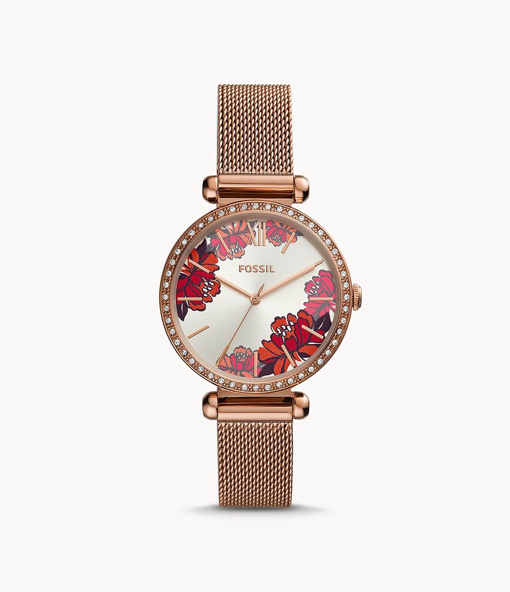 Fossil Uhr Tillie 3-Zeiger-Werk Milanaiseband Edelstahl roségoldfarben