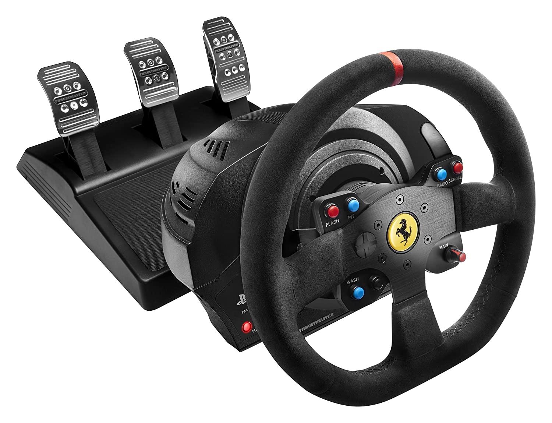 Thrustmaster T300 Ferrari Integral Alcantara Edition (Lenkrad inkl. 3-Pedalset, Force Feedback, 270° – 1080°, Eco-System, PS4 / PS3 / PC)