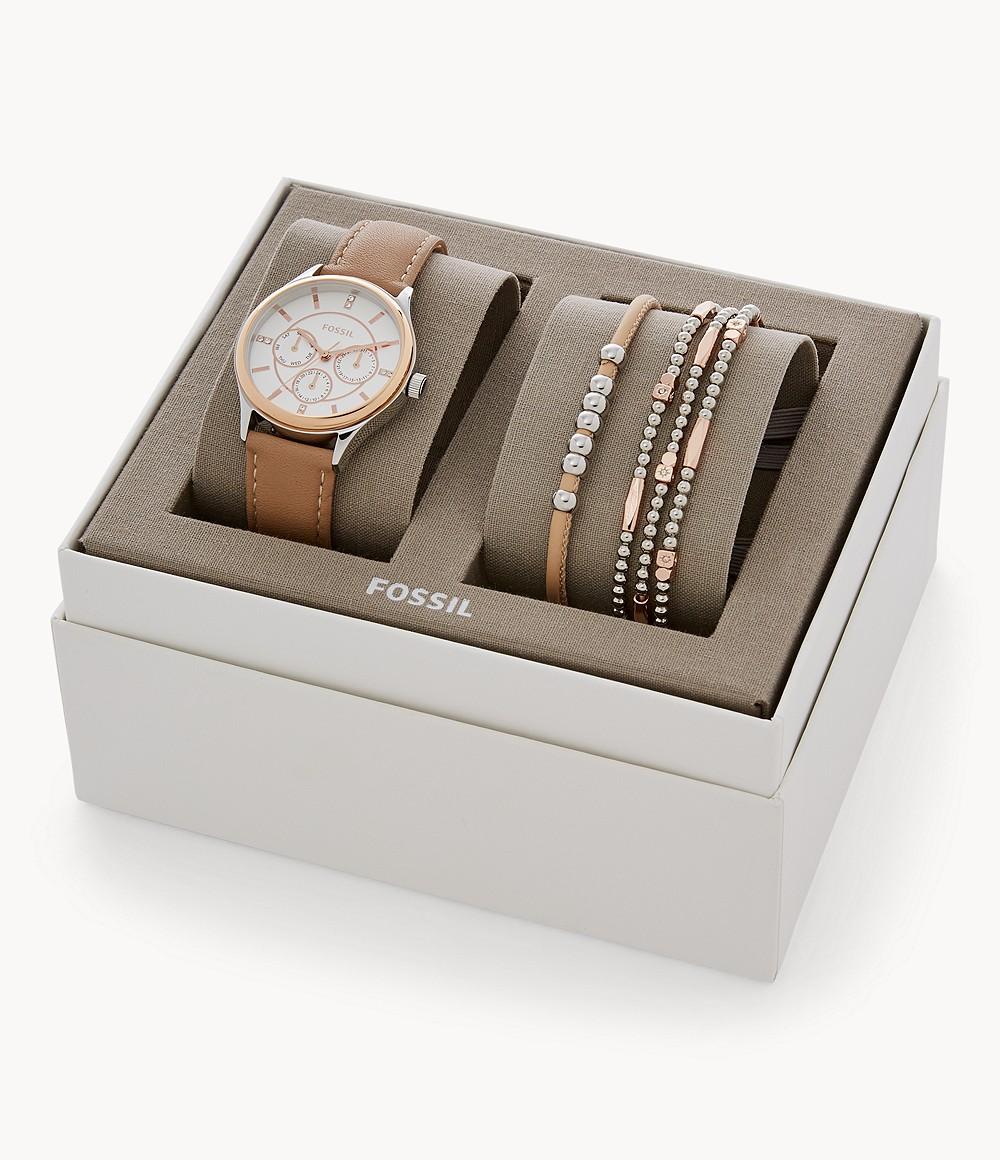 Fossil Set Armbänder und Damenuhr Modern Sophisticate Multifunktion Leder Hellbraun