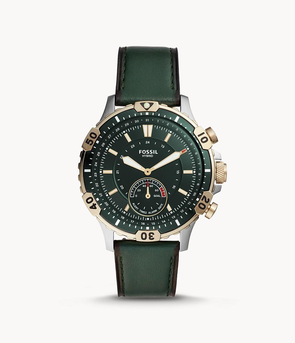 Fossil Herren Hybrid Smartwatch Garret Leder Dunkelgrün