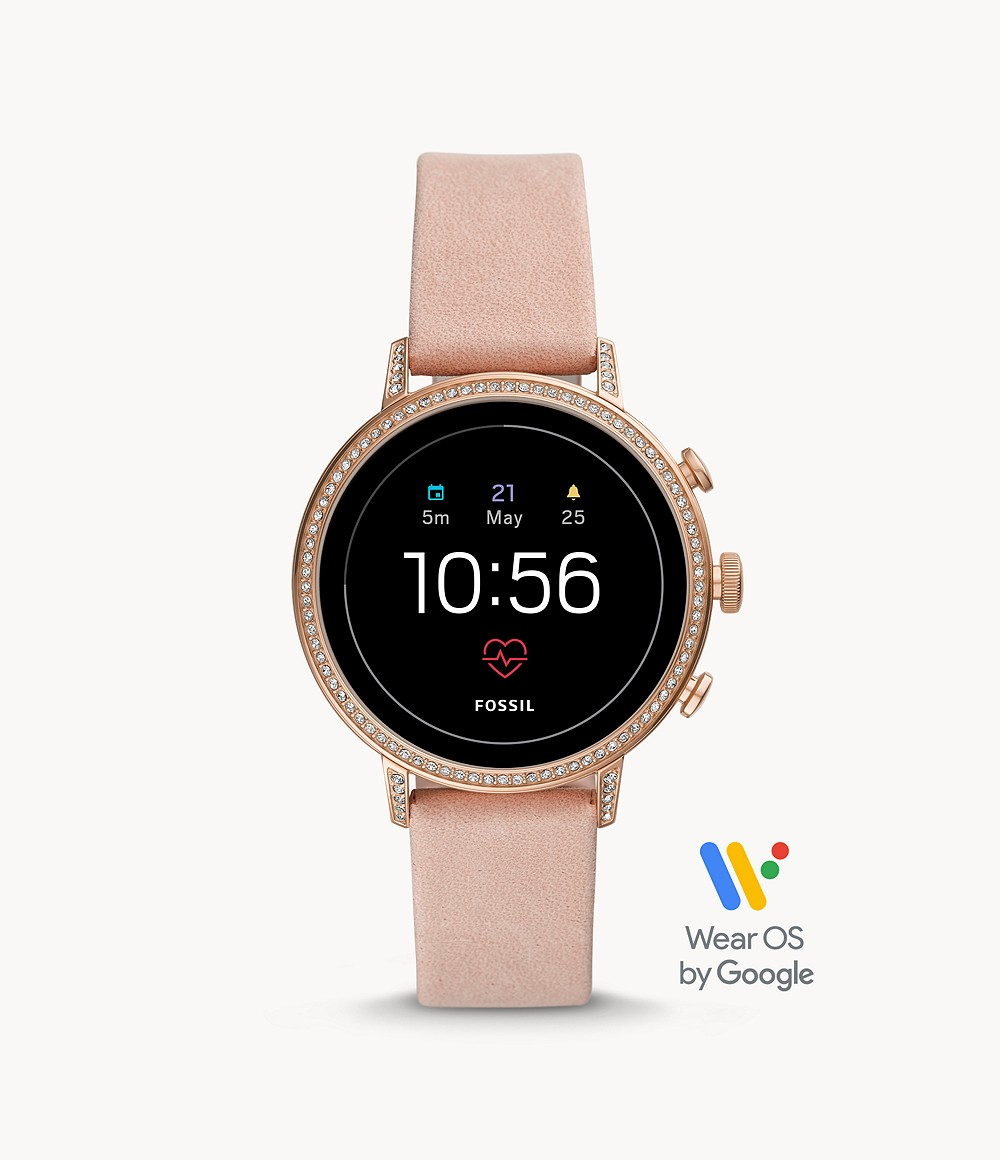 Fossil Damen Smartwatch Venture HR 4. Generation Leder Rosa